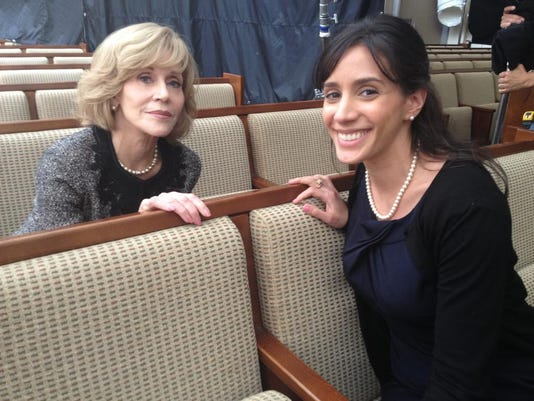 Cantor Mia Fram and Jane Fonda