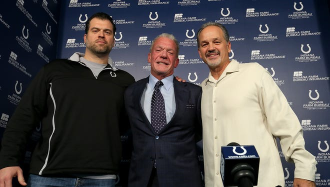The conclusion few thought would happen: Ryan Grigson, Jim Irsay and Chuck Pagano (almost) all smiles after the end of the 2015 season.