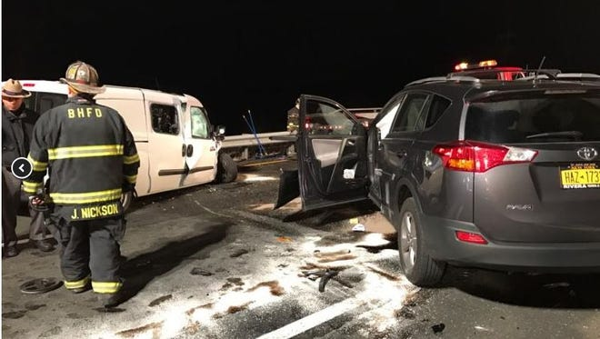 Two people were injured, one critically, in what police say was a wrong-way crash on I-684 caused by a drunken driver.