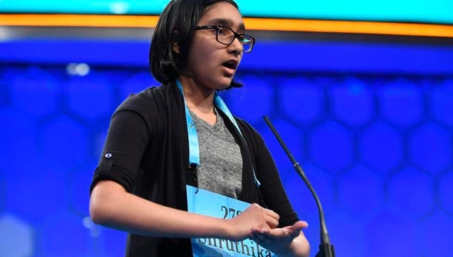 Sixth-grader Shruthika Padhy of New Jersey spelled the word defibrillator correctly in the third round during the 2017 Scripps National Spelling Bee on Wednesday at the Gaylord National Resort and Convention Center