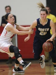 Appleton North High School's Sydney Levy, right, tore