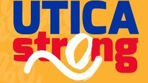 "Boilermaker Road Race's ""Utica Strong"" shirt signange."