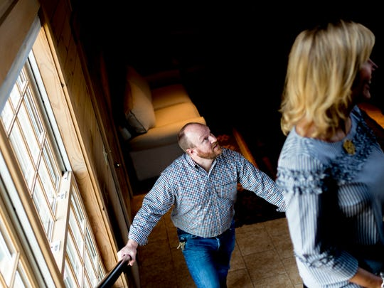 Court Cobble walks through the former silo with his sister, Cheryl, at Marblegate Farm in Friendsville, Tenn., on Tuesday, April 3, 2018.