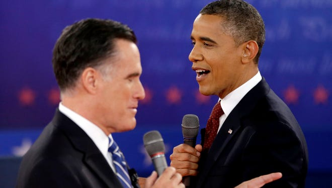 President Obama and Mitt Romney during a 2012 debate.