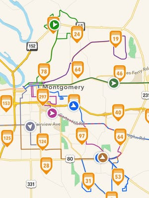 Buses, routes, stops and times can be seen on the Transloc Rider app.