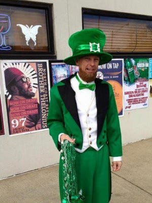 Harlan Loomis in a St. Patrick's Day costume outside the Lakeview Lounge.