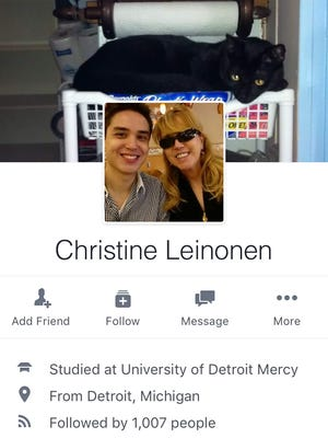 A screenshot of Christine Leinonen's Facebook page taken June 13, 2016 shows a photo of her with her son.