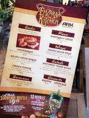 The menu at EmZara's Kitchen at the Ark Encounter.