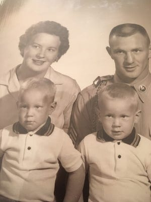 Christine and John Dorval Minatra with twin sons Larry, left, and Barry.