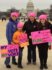 Amy Gunzelman, far right, poses with friends and family at the Women's March on Washington on Jan. 21, 2017.