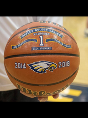 This commemorative basketball was presented to Naples senior Jack Youmans for reaching the 1,500-point mark in his high school career, during Senior Night festivities at Naples High on Thursday, Feb. 8, 2018.