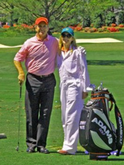 Jerry Pate and daughter Jenni at Augusta National Golf Club where Pate competed in the annual Par-3 Tournament prior to the Masters.