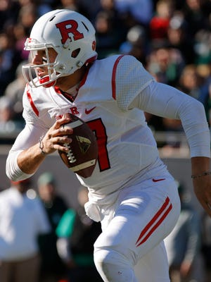 Rutgers quarterback Gio Rescigno scrambles against Michigan State during the second quarter of an NCAA college footballl game, Saturday, Nov. 12, 2016, in East Lansing, Mich. (AP Photo/Al Goldis)