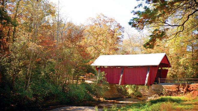Fall Color at South Carolina State Parks, Campbells Covered Bridge
