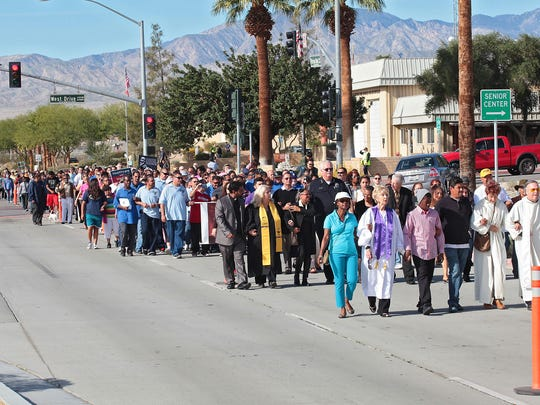 Hundreds of people attended Monday's walk.