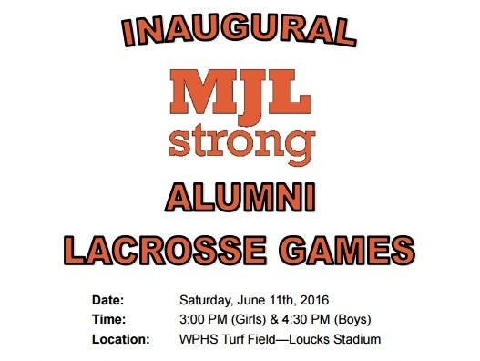 Notice for the inaugural Mike Leone alumni lacrosse games at Whit e Plains High School