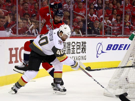 Ryan Carpenter #40 of the Vegas Golden Knights takes
