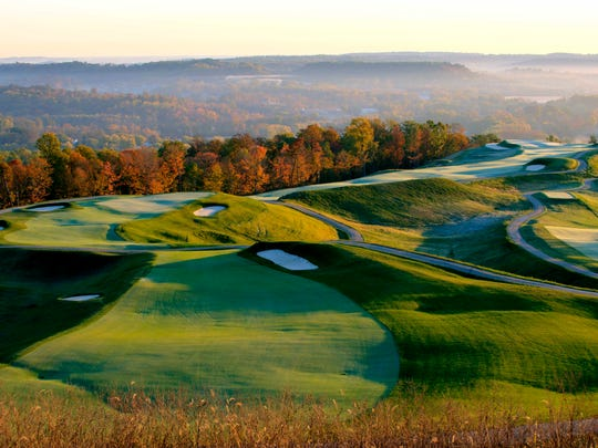 Holes 11 and 12 at the Pete Dye course in French Lick, Ind. Photo was taken from the tee at 11, with 12 trailing off behind it in the background, and part of the No. 14 tee showing on the far right, coming back up the hill.