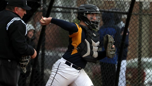 Pelham baseball's Kevin Coleman during a game at Eastchester