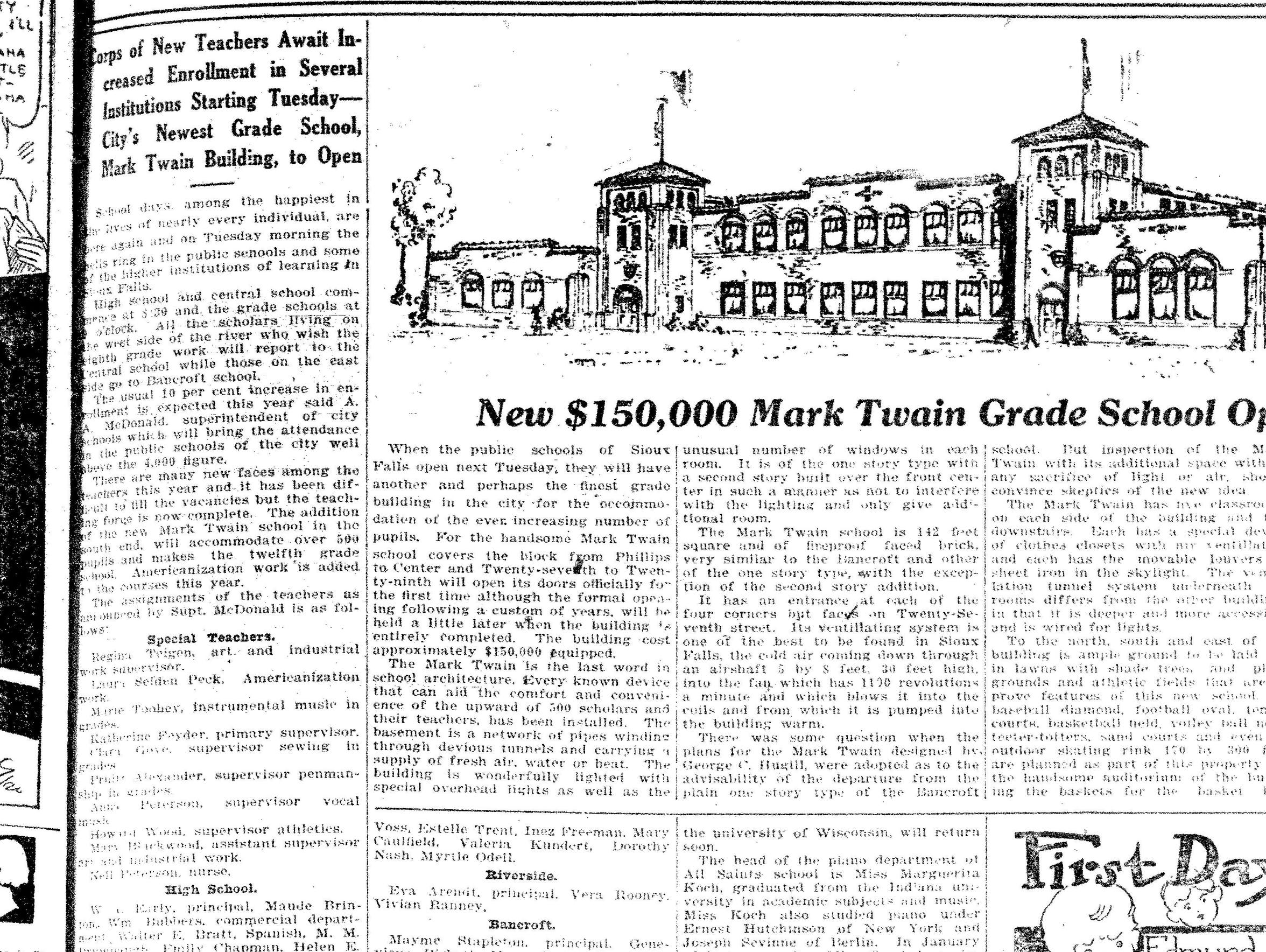 An Argus Leader newspaper clipping from the opening
