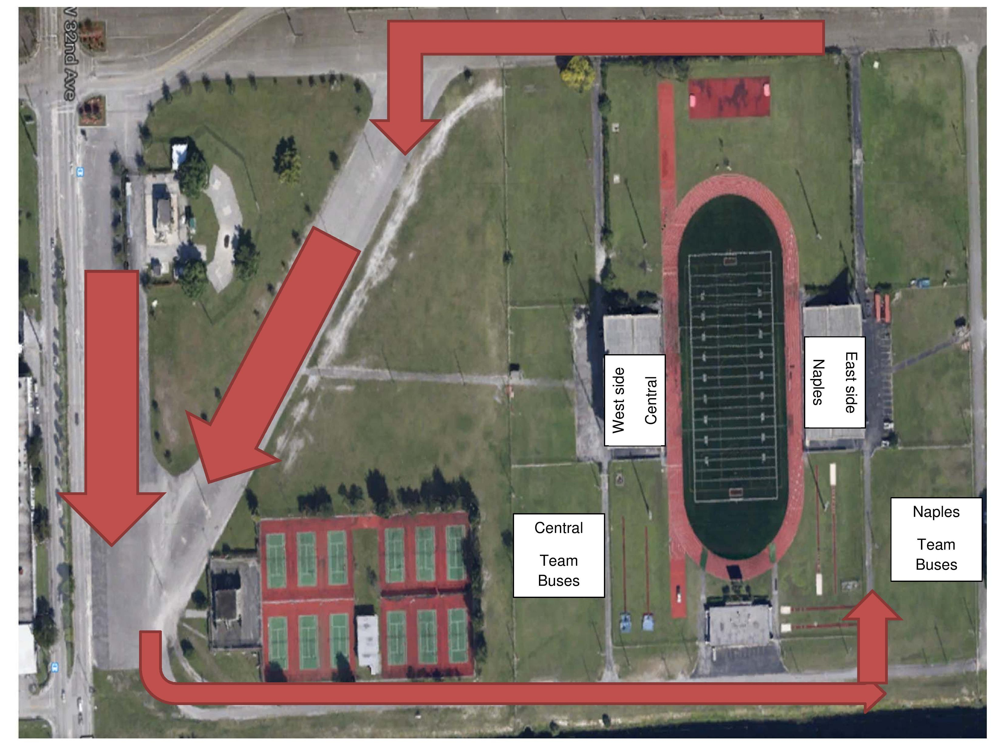 Naples will play Miami Central Friday in the Class 6A semifinals at Traz Powell Stadium. Naples fans should park and enter on the east side of the stadium.