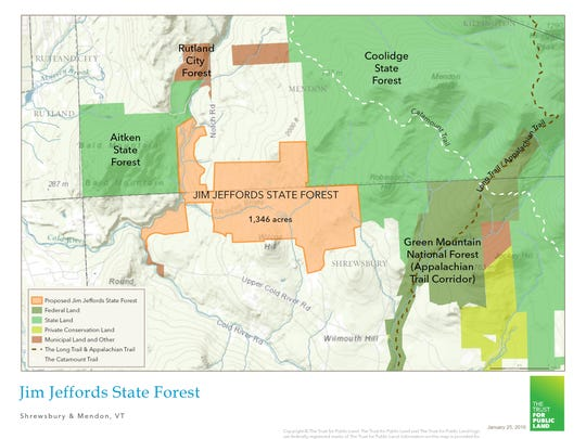 The newly created Jim Jeffords State Forest (in orange) will connect protected forests in Rutland County.