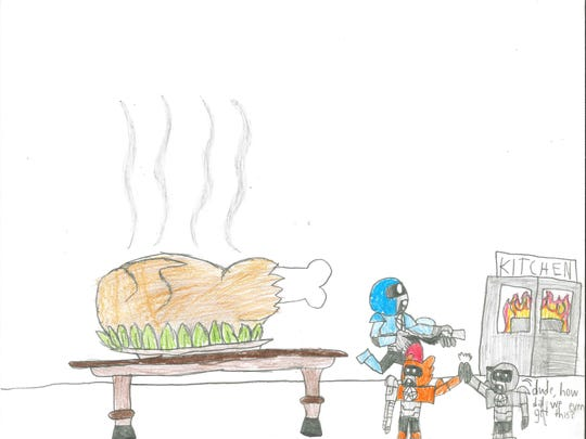 For my special recipe, I will cook a full-size T-Rex in a roaster. It will be delicious and taste like chicken! Jameison McDonald Grade 7, Helfrich Park STEM Academy