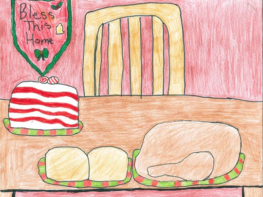 I would make rolls and turkey for a big holiday meal. The rolls would be golden and doughy, freshly made with butter on top. The turkey would be brown, crisp and sweet. In addition, I would bake a peppermint bark cake with vanilla cake and peppermint icing. Sarah Reisz Grade 7, Helfrich Park STEM Academy