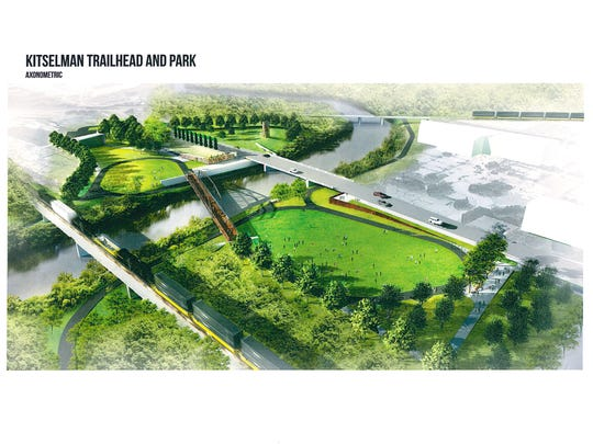 An artist's rendering of the Kitselman Trailhead and Park, construction of which will start in 2017.