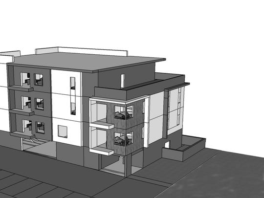 A rendering of a corner and penthouse planned at Solo Lofts.
