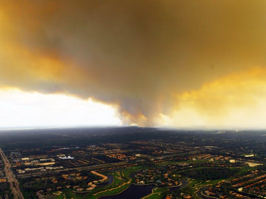 Aerial photo of the Collier County brush fire.