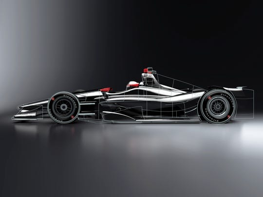 Computer-generated image of the 2018 Indy car.