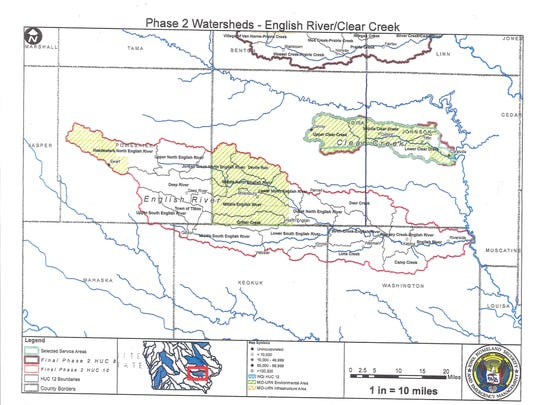 A large portion of the English River Watershed lies within Iowa County. The west portion of Clear Creek Watershed also is within Iowa County.