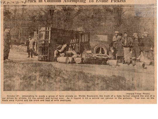 Manitowoc Herald-Times coverage of the milk strike on Oct. 27, 1933.