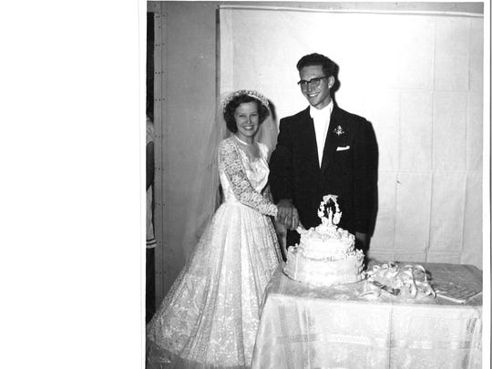 Johnny and Doris Glover on their wedding day Aug. 10, 1954.