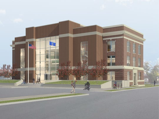 An architectural rendering shows how a newly redesigned Sheboygan City Hall could look from the north.