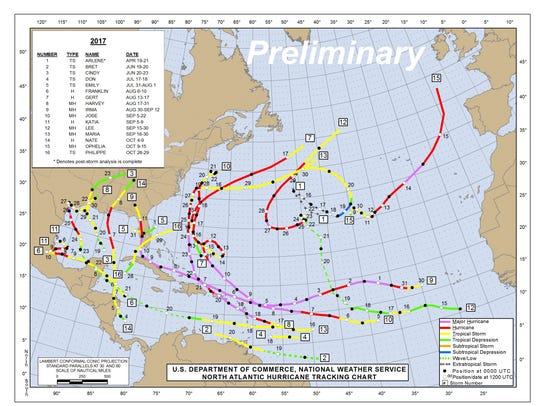 Pictured is a map with trajectories of all named storms