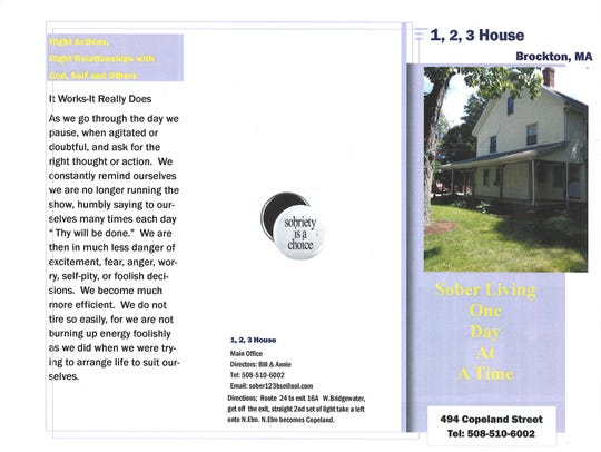 A 1,2,3 House pamphlet for sober living properties
