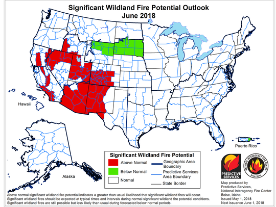 The June outlook for significant wildland fire potential