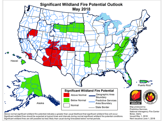 The May outlook for significant wildland fire potential shows an above normal forecast for major blazes in parts of Arizona.