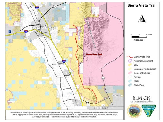 This map of the Sierra Vista Trail was created by the BLM Las Cruces District GIS staff for a brochure of the Dripping Springs Natural Area.