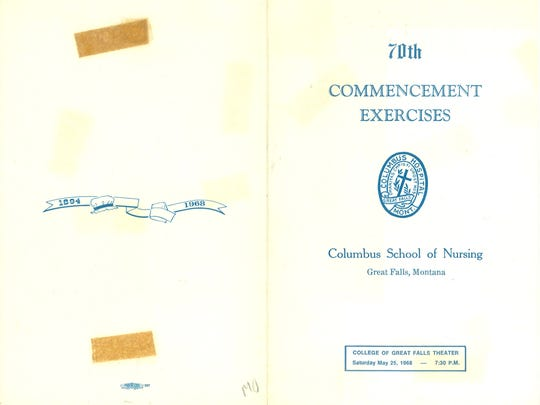 The commencement program for the 70th, and final, class of nurses at the Columbus School of Nursing in Great Falls.