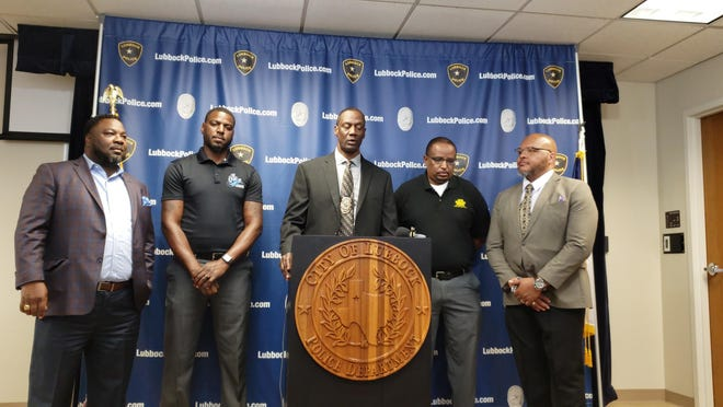Lubbock Police Chief Floyd Mitchell, center, and representatives of the east Lubbock community spoke during a press conference Tuesday afternoon regarding an inappropriate social media post made reportedly by a Lubbock police officer.