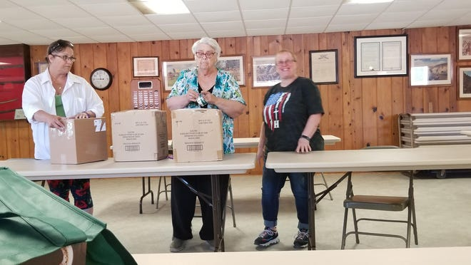 The Lena American Legion recently sent its fourth shipment of care packages to the Freeport National Guard in Cuba. Pictured, from left: Kathy Pignato, Judy Shippee and Dawn Spinihirne.