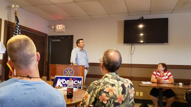 Former Kansas Secretary of State and candidate for U.S. Senate Kris Kobach presents a crash course on the U.S. Constitution at a recent meeting of the Newton Rotary Club.