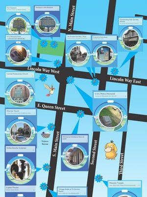 The new PokeMap, created by the Franklin County Visitors Bureau, shows historical locations where Pokemon can be found.