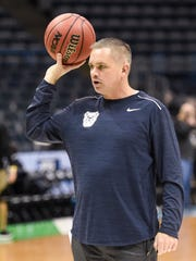 Bulldogs coach Chris Holtmann watches his team practice for their first round game of the NCAA Tournament at BMO Harris Bradley Center.