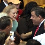 Gov. Chris Christie chats with HP CEO Meg Whitman (in green) after addressing the California delegation at the Tradewinds Resort in St. Pete Beach, FL, in August 2012. ASBURY PARK PRESS PHOTO BY THOMAS P. COSTELLO
