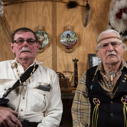 """Accohannock Chief Clarence """"Lone Wolf"""" Tyler, left,"""