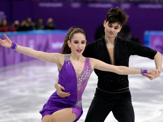Adel Tankova and Ronald Zilberberg, of Israel perform during the ice dance short dance team event in the Gangneung Ice Arena at the 2018 Winter Olympics in Gangneung, South Korea.
